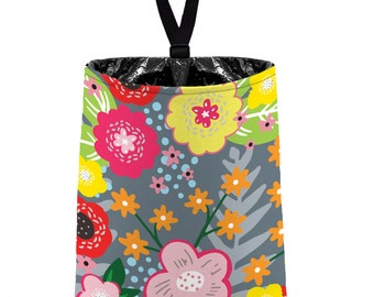 Car Trash Bag // Auto Trash Bag // Car Accessories // Car Litter Bag Car Garbage Bag - Floral Burst Dark Grey Car Organizer Flower