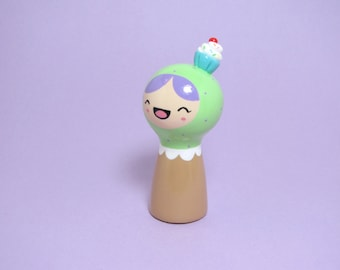Green Cupcake Girl Figurine - Collectible Miniature Resin Figure