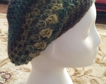 Boho Crocheted Wool Beret-Teal, Dark Brown, Olive Green, Gold-Hand Made