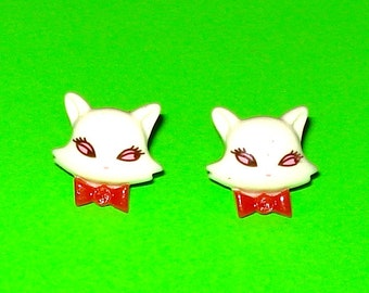LAST ONE! Sly Kitty Bow Tie Red and White Crazy Cat Lady Post Earrings