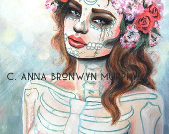 catrina corona, mature giclee archival print of original acrylic painting- 8x10 on 10x12 paper