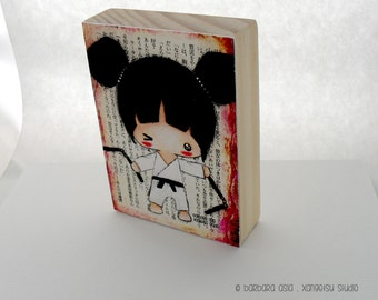 ACEO Giclee Art Print on Pine Block - Martial Arts Girl