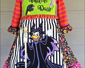 Custom Handmade Appliqued Embroidered Hand Painted Halloween Dress Order your size.