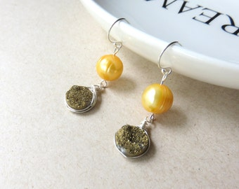 Pearl Druzy Earrings, Natural Druzy, Golden Yellow Freshwater Pearls, Wire Wrapped Druzy, Sterling Silver Ear Wires, Dainty One of a Kind