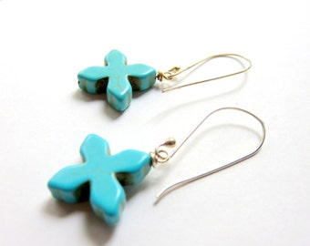 Turquoise Cross Earrings, Howlite and Sterling Silver, Religious Earrings, Southwestern Style, Turquoise Blue and Silver, Tribal Jewelry