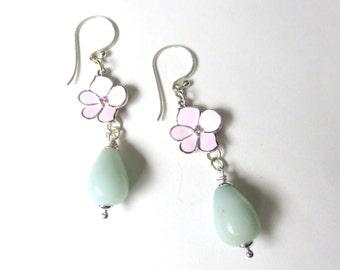 Amazonite Teardrop Earrings, Pink and Green Flower Earrings, Mint Green Gemstone Dangles, Dainty Amazonite Drops, Pastel Gemstone Jewelry