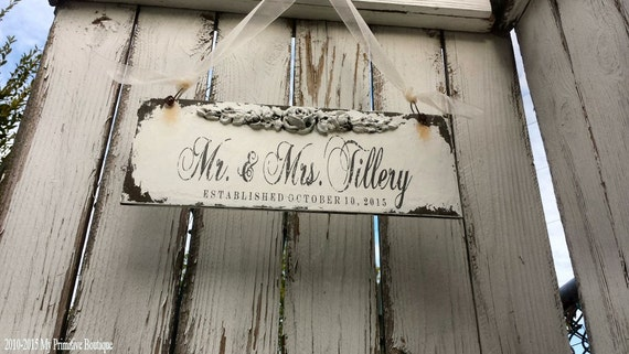 SHABBY CHIC ESTABLISHED Sign, Custom Name Sign, 13x5, Romantic Roses, Floral Accent, Wedding Sign, Personalized Wooden Sign, Door Hanger
