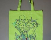neon green tote, heavy metal, green tote bag, canvas tote bag, lime green, ooak,  Unisex tote bag