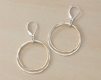 Double Circle Earrings, Hammered Wire Gold and Silver Leverback Hoops, Modern Handmade Mixed Metal Large Earrings, Sterling Silver Jewelry