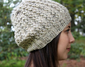 Heather Cream Slouchy Hat - Vegan Chunky Knit Tam Beanie - Warm for Fall & Winter - Boho Hat - Hipster Hat - Womens Gift - Gift for Her
