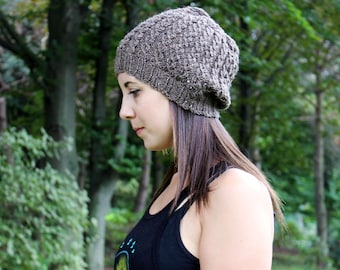 Taupe Brown Heather Slouchy Hat - Vegan Chunky Knit Tam Beanie - Warm Fall & Winter - Boho Hat - Hipster Hat - Womens Gift - Gift for Her