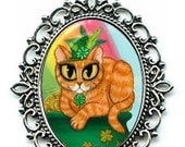 SALE St. Paddy's Day Cat Necklace St. Patrick's Cat Lucky Orange Tabby Irish Cat Rainbow Necklace 40x30mm Gift for Cat Lovers Jewelry