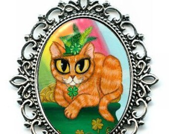 St. Paddy's Day Cat Necklace St. Patrick's Cat Lucky Orange Tabby Irish Cat Rainbow Necklace 40x30mm Gift for Cat Lovers Jewelry