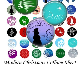 Modern Christmas - Instant Download - Digital Collage Sheet - 1 Inch Circles