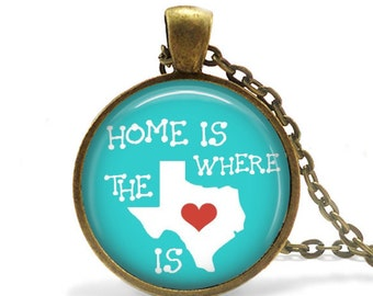 Home is Where the Heart is - Custom Map Pendant, Necklace or Key Chain - Choice of 4 Bezel Colors