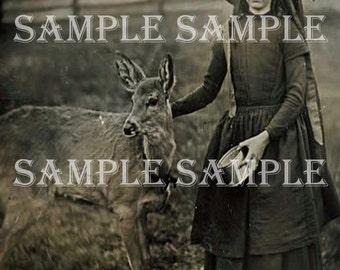 SALE no6312 Instant Digital Download Scan - Vintage Antique photograph - Girl with baby deer