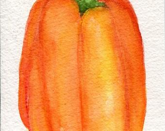 Pepper Watercolors Paintings Original, 4 x 6, Vegetable painting, kitchen decor, food art, original watercolor  of Yellow Orange Bell
