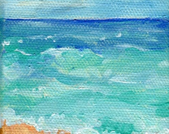 Seascape, Waves Mini Painting on canvas Original Ocean Art 3 x 3 acrylic mini canvas art of sea, waves painting SharonFosterArt