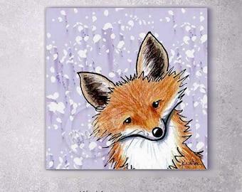 Giclée Canvas Art PRINT Fox on Lavender Abstract