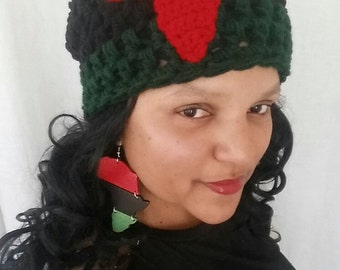 African Hat, Pan African Beanie, Slouchy Beanie with Africa, Kwanzaa, Pan African Clothing, Slouchy Beanie, African Cap