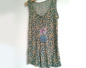Indian Top, Upcycled, Image, Print, Paisley, Leaf, Vest Top, Tank, Small, V Neck, Blue, Mustard, Boho