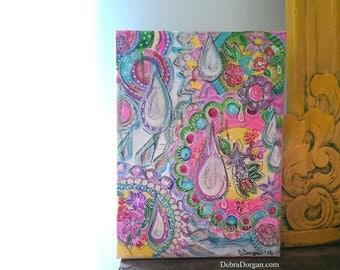 Hidden Tears, Original Painting, Joy, Tears, Emotions, Life, Bohemian, Art, Cheery, Teardrops, Wall Art, Home Decor, 9 x 12