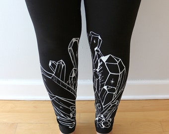 Small- Artsy Crystal Quartz Hand screen Printed Leggings - A little messy/ink SALE