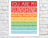 You Are My Sunshine Wall Art Rainbow Nursery Decor Colorful Print Little Boy Quote Baby Boy Nursery Artwork Bright Art Unique Baby Room Idea