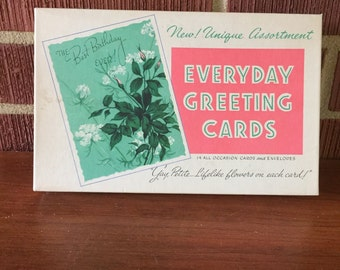 Vintage Boxed Set of 3D Flower Unused Greeting Cards Assortment