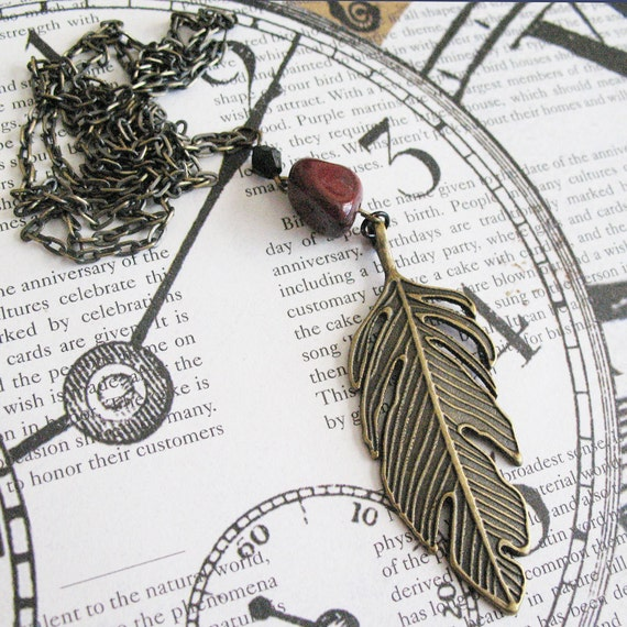 Long Feather Charm Necklace Boho Chic Jewelry For Women