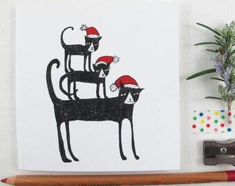 Christmas Card: Stack of Christmas Cats