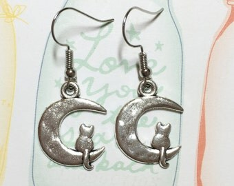 Cat on Moon Silver-plated Earrings, Cat Earring, Kitten Earrings, Cute Earrings, Moon Earrings, Cat Lover, Birthday Gift, Christmas Gift