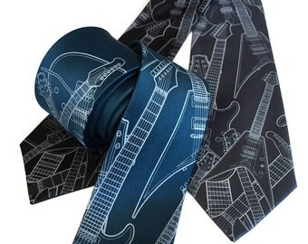 Electric Guitar Necktie. Guitar tie. Rock and roll music tie. Music lover gift. Pale grey print on peacock blue, black & more.