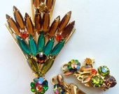 Juliana ? brooch, earrings set. Watermelon, green brown turquoise. Vintage Clip ons