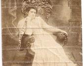 Art nouveau maiden actress throne vintage photo sepia theater