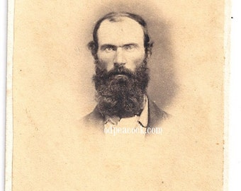 Intense cdv man civil war era vignette antique photo beard photo