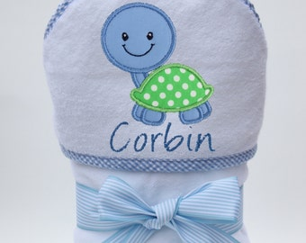 Hooded Towel Personalized with Baby Turtle for Baby Boys and Toddler Boys