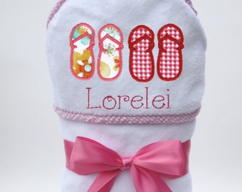 Personalized Hooded Towel Flip Flops for Baby Girl or Toddler Girl