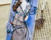 Bookmark - Laminated - Charm - Fairy - Fantasy - Art Nouveau - Moon - Lunar Queen