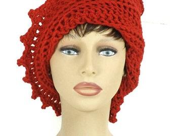 Red Crochet Hat Womens Hat Trendy, Womens Crochet Hat, Crochet Beanie Hat, Red Hat, LAUREN Beanie Hat for Women, Crochet Hat