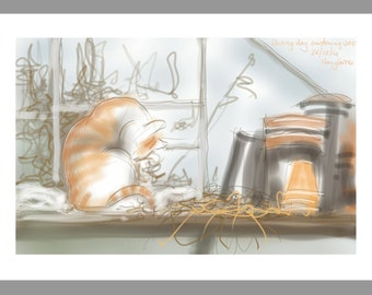 "cat card: ""Boxing Day Gardening"" - art greetings card, cat in the greenhouse, drawing by Nancy Farmer"