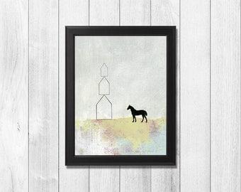 Modern Farmhouse Wall Decor - Modern Horse Print, Extra Large Wall Art Available as a Modern Canvas Print or Paper Art Print