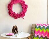 Bright Neon Pink Wool Wreath Autumn to Winter Unique Decor