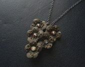 midnight gardens - vintage black aurora borealis pendant necklace - found object soft grunge pastel goth jewelry