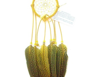 Yellow Dream Catcher, Guinea Hen Feathers