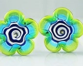Transparent Blue and Green Flat Flower Lampwork Glass Beads