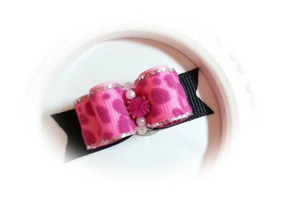 Leopard Dog Bow - Pink Leopard Dog Hair Bow - Fancy Rhinestone Dog Bow