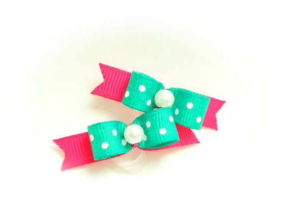 Summer Dog Bows, Aqua Pet Bow, Small Dog Hair Bow, Small Pet Bow, Bows for Dogs