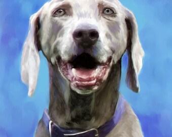 Pet Portrait - Weimaraner Custom Dog Portrait - Weimaraner Painting from your Photo - Portraits by NC