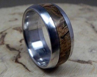 Wood Ring, Aluminum Ring, Wedding Ring, Wooden Ring, Wood Inlay Ring, Black Ash Burl Ring, Mens Ring, Personalized Ring, Womens Ring